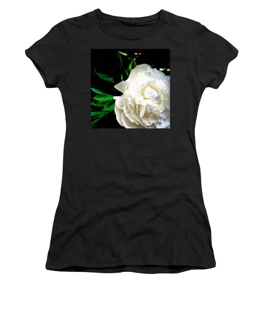 Peony Women's T-Shirt (Athletic Fit) featuring the photograph White Peony by Michelle Calkins