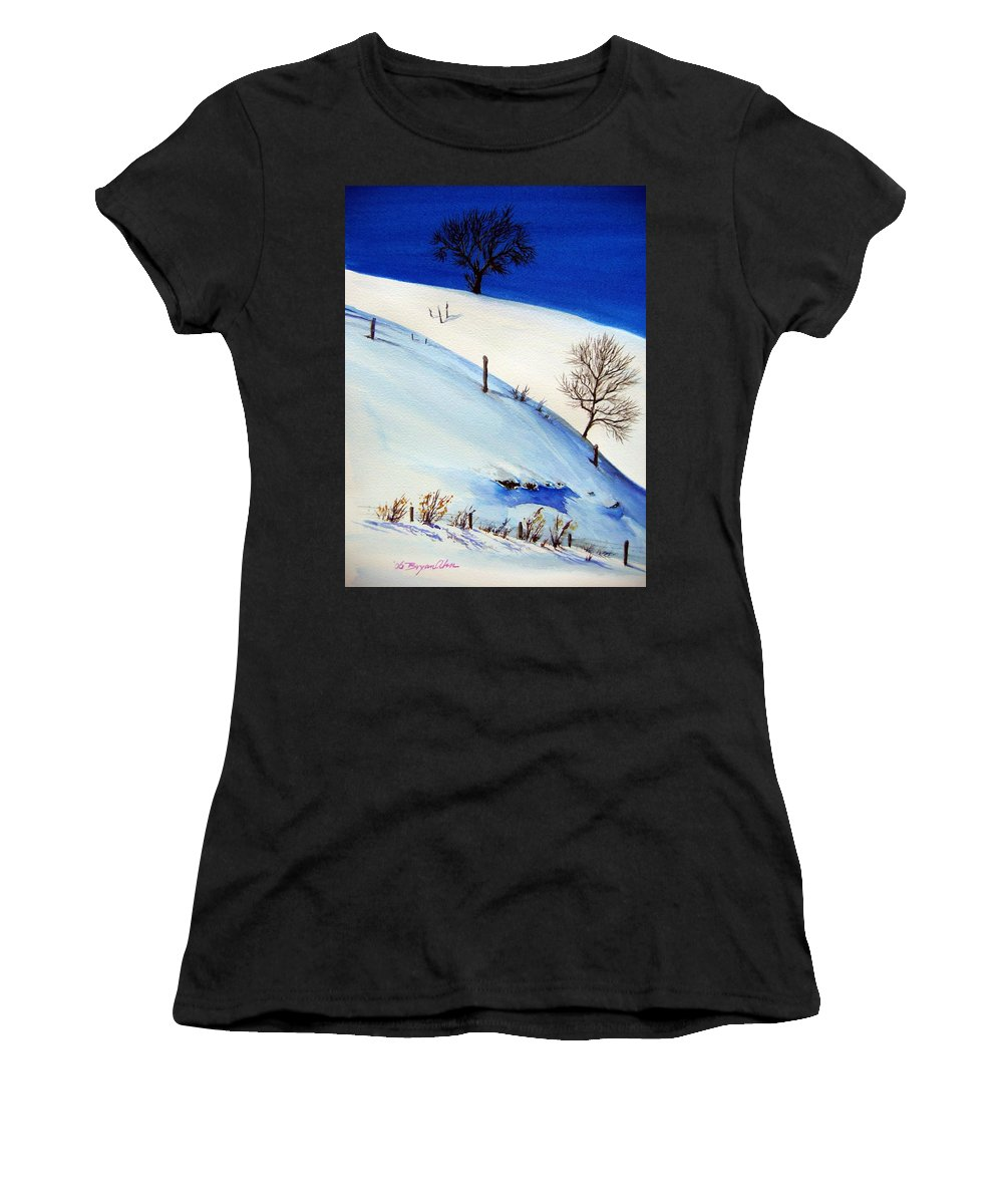 Snow Women's T-Shirt featuring the painting White World by Bryan Ahn