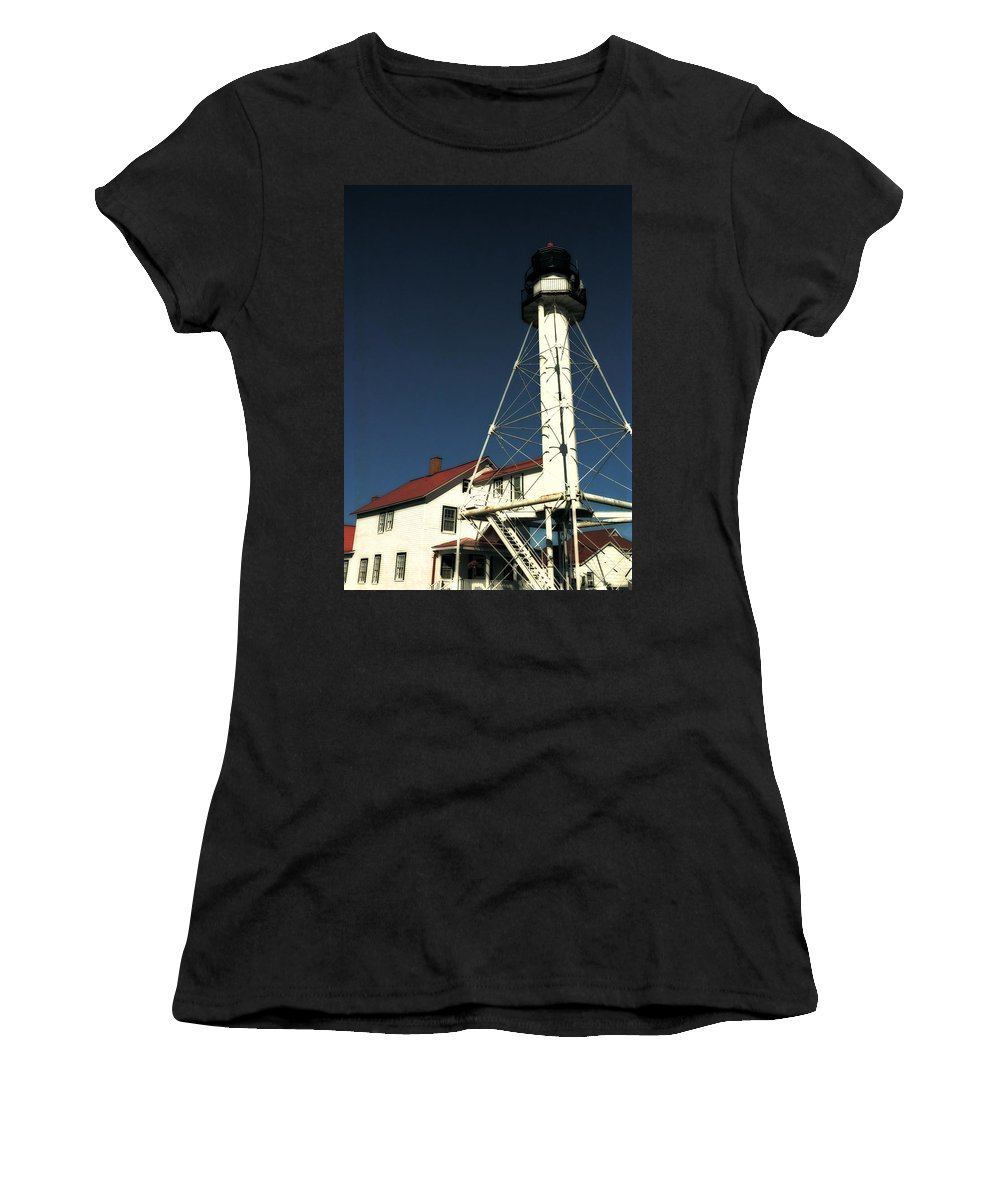 Lighthouse Women's T-Shirt (Athletic Fit) featuring the photograph Whitefish Point Light Station by Michelle Calkins