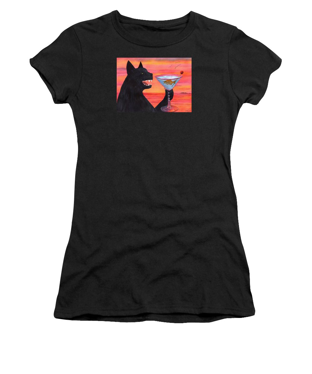 Cat Women's T-Shirt featuring the painting Wicked Kittys Cattini by Catherine G McElroy