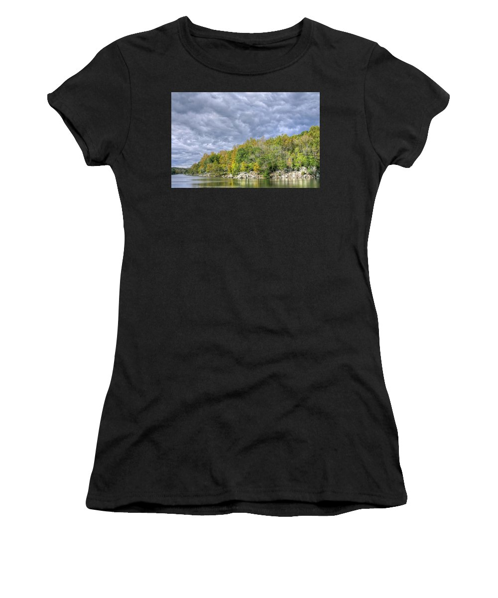 Towpath Women's T-Shirt (Athletic Fit) featuring the photograph Widewater Clouds by Francis Sullivan