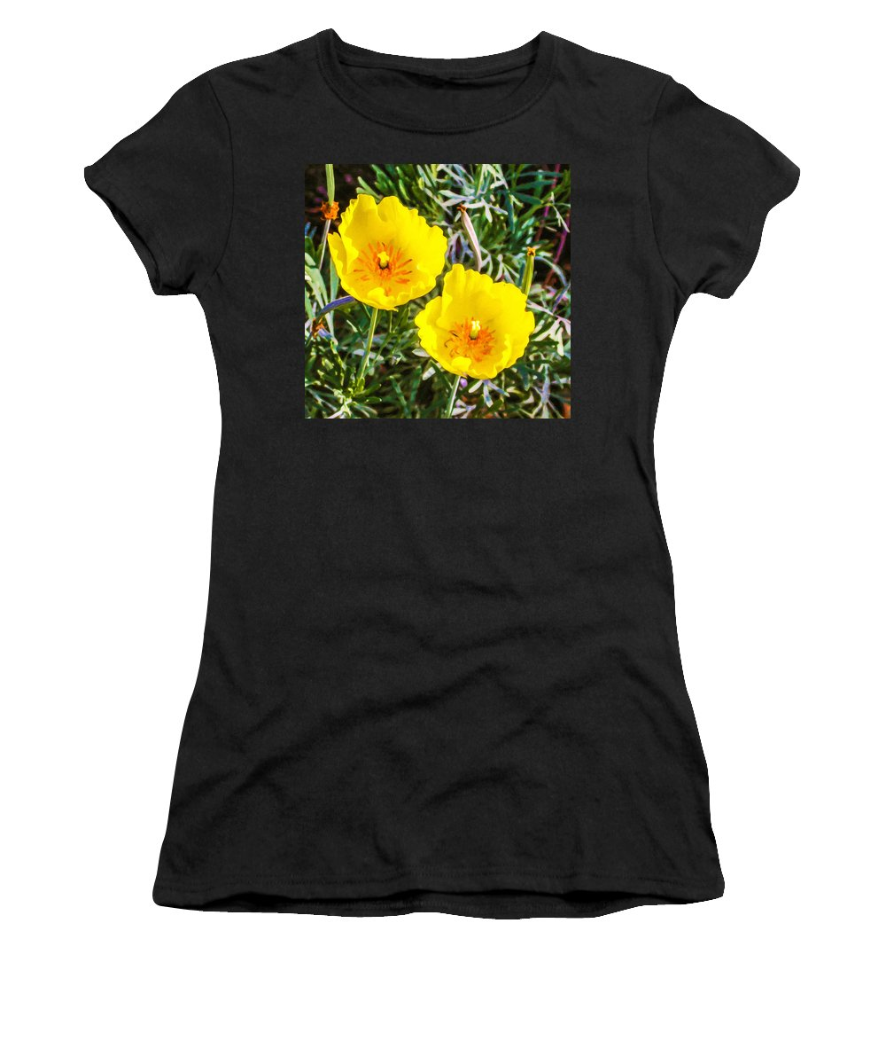 Garden Women's T-Shirt (Athletic Fit) featuring the painting Wild Flowers 2 by Jeelan Clark