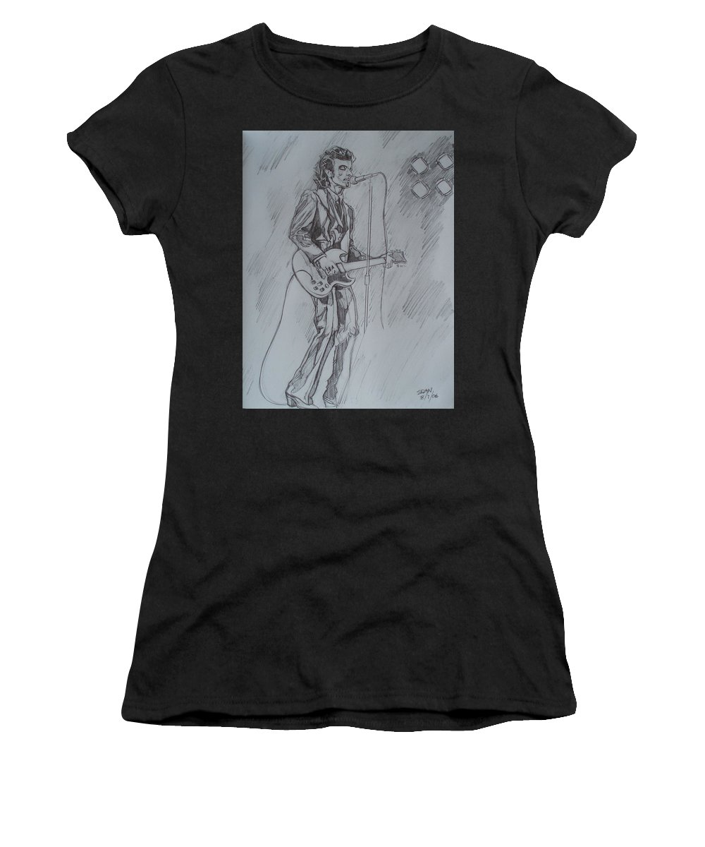 Pencil Women's T-Shirt (Athletic Fit) featuring the drawing Willy Deville - Steady Drivin' Man by Sean Connolly