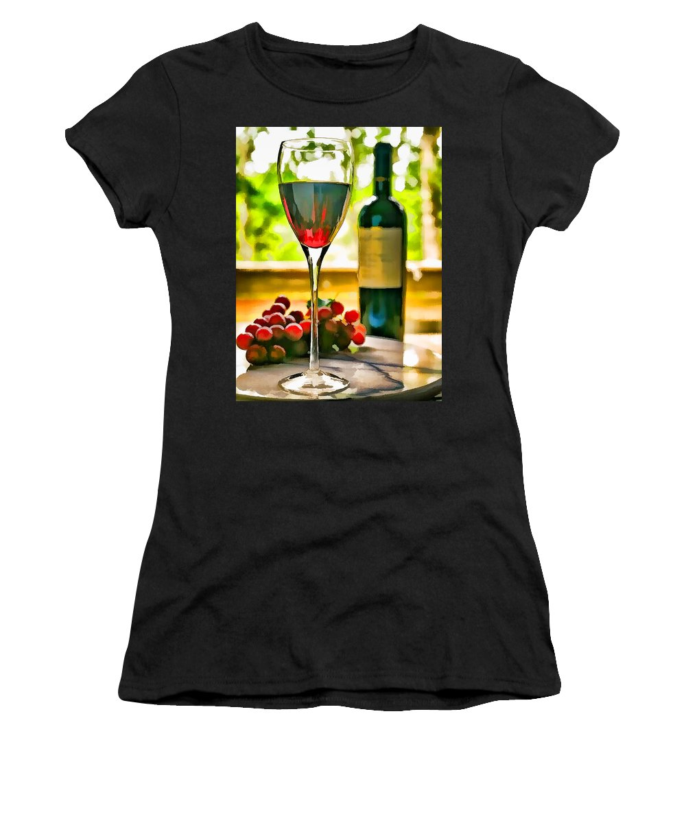 Wine Winery Glass Wine+glass Bottle Wine+bottle Grapes Window Sunlight Yard Table Women's T-Shirt (Athletic Fit) featuring the painting Wine And Grapes In The Window by Elaine Plesser