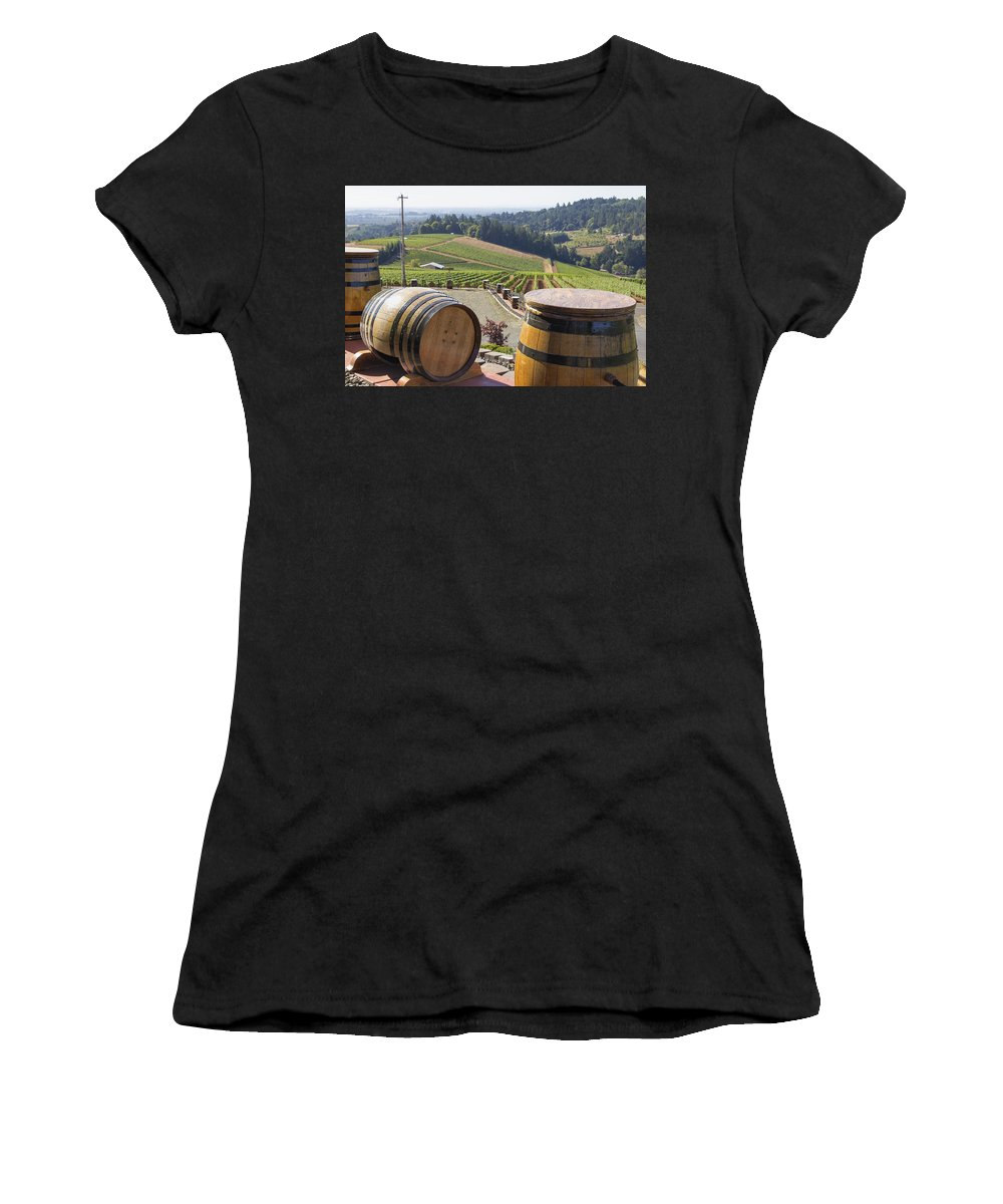 Wine Women's T-Shirt (Athletic Fit) featuring the photograph Wine Barrels In Vineyard by Jit Lim