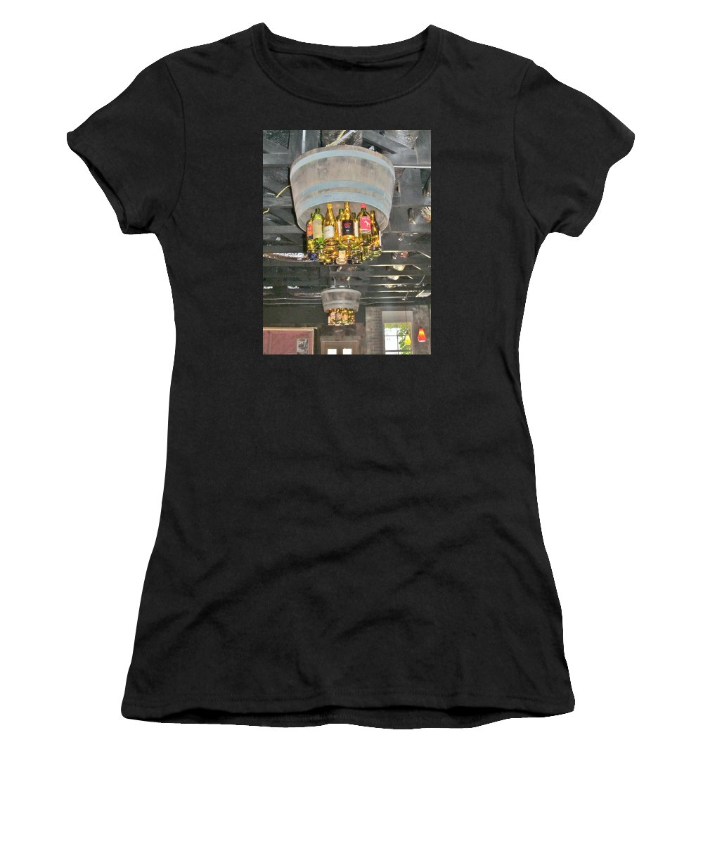 Wine Bottles Women's T-Shirt featuring the photograph Wine Bottle Chandelier by Donna Wilson
