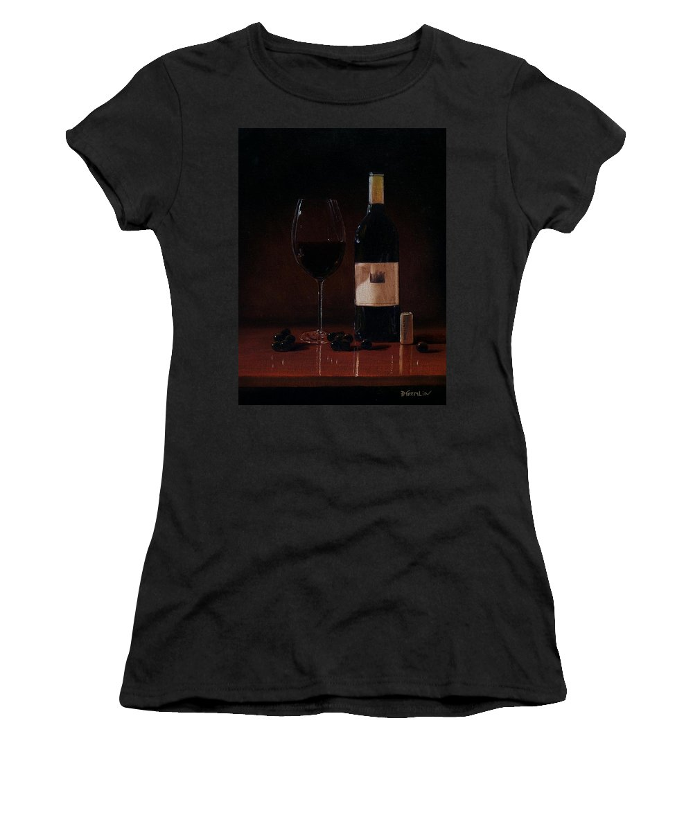 Wine Women's T-Shirt featuring the painting Wine Glass And Bottle by Paul Tremlin