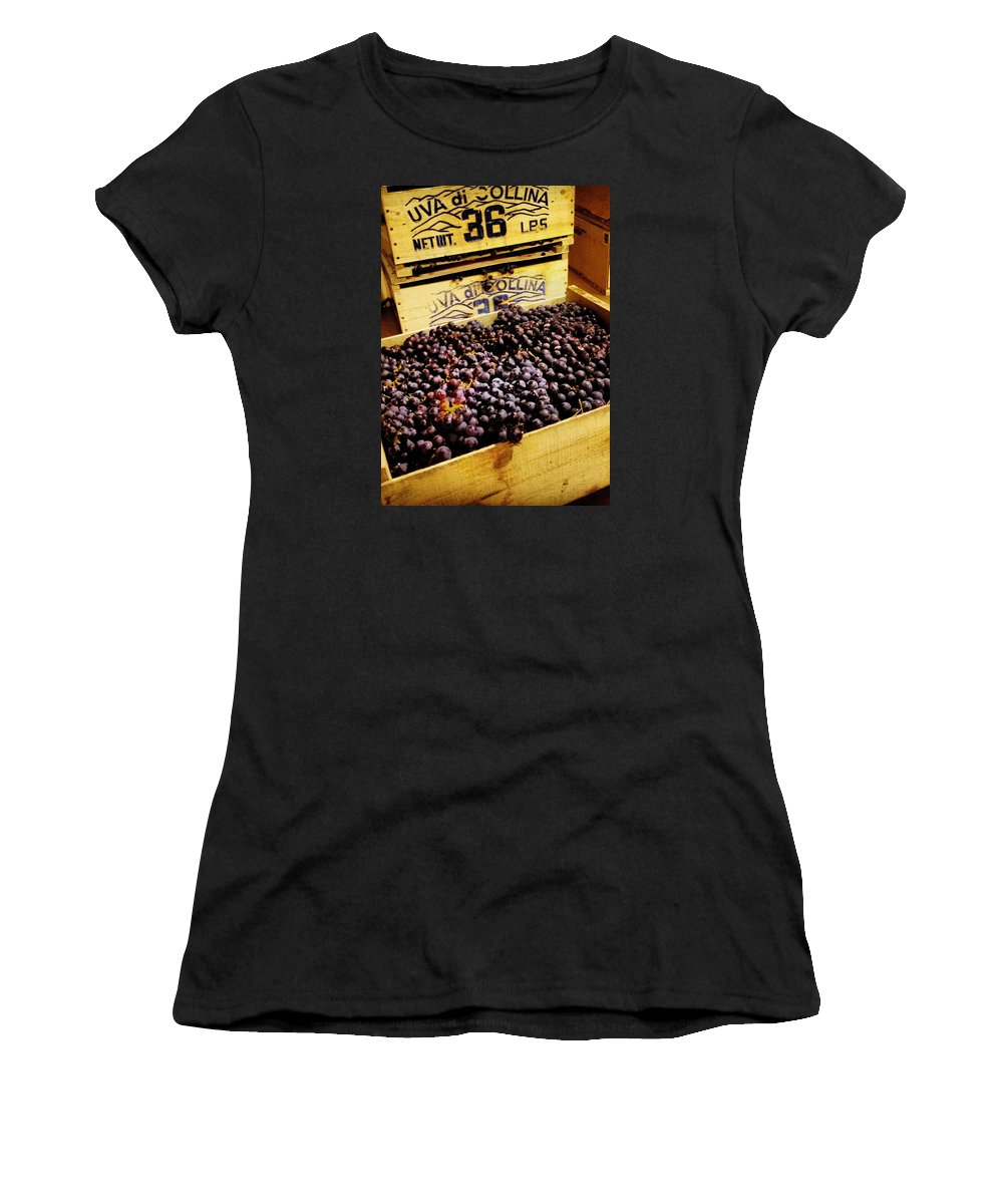 Grape Women's T-Shirt (Athletic Fit) featuring the photograph Wine Grapes II by Angela Rath