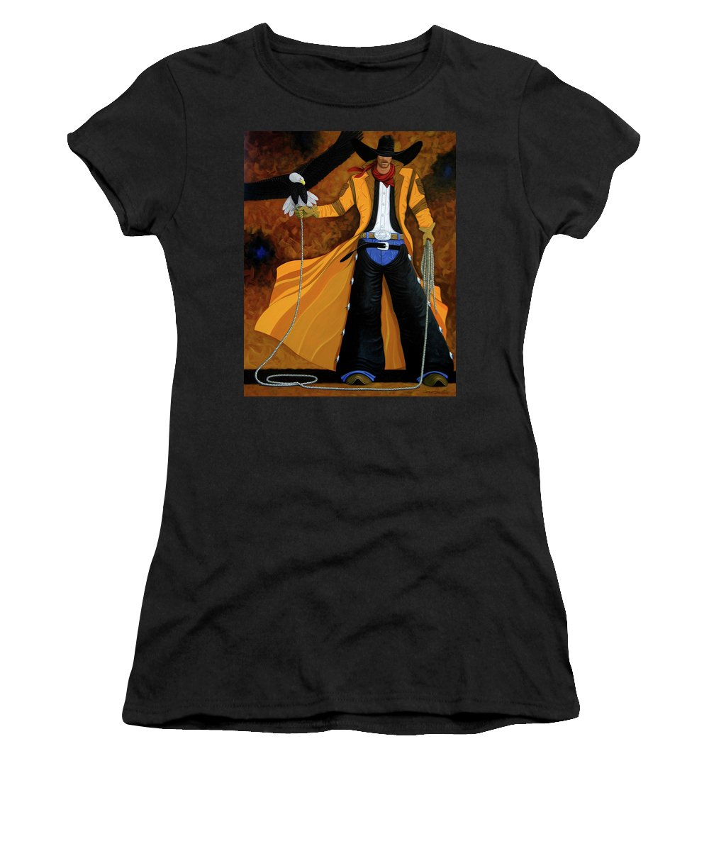 Original Cowboy American Women's T-Shirt (Athletic Fit) featuring the painting Wings Of The West by Lance Headlee