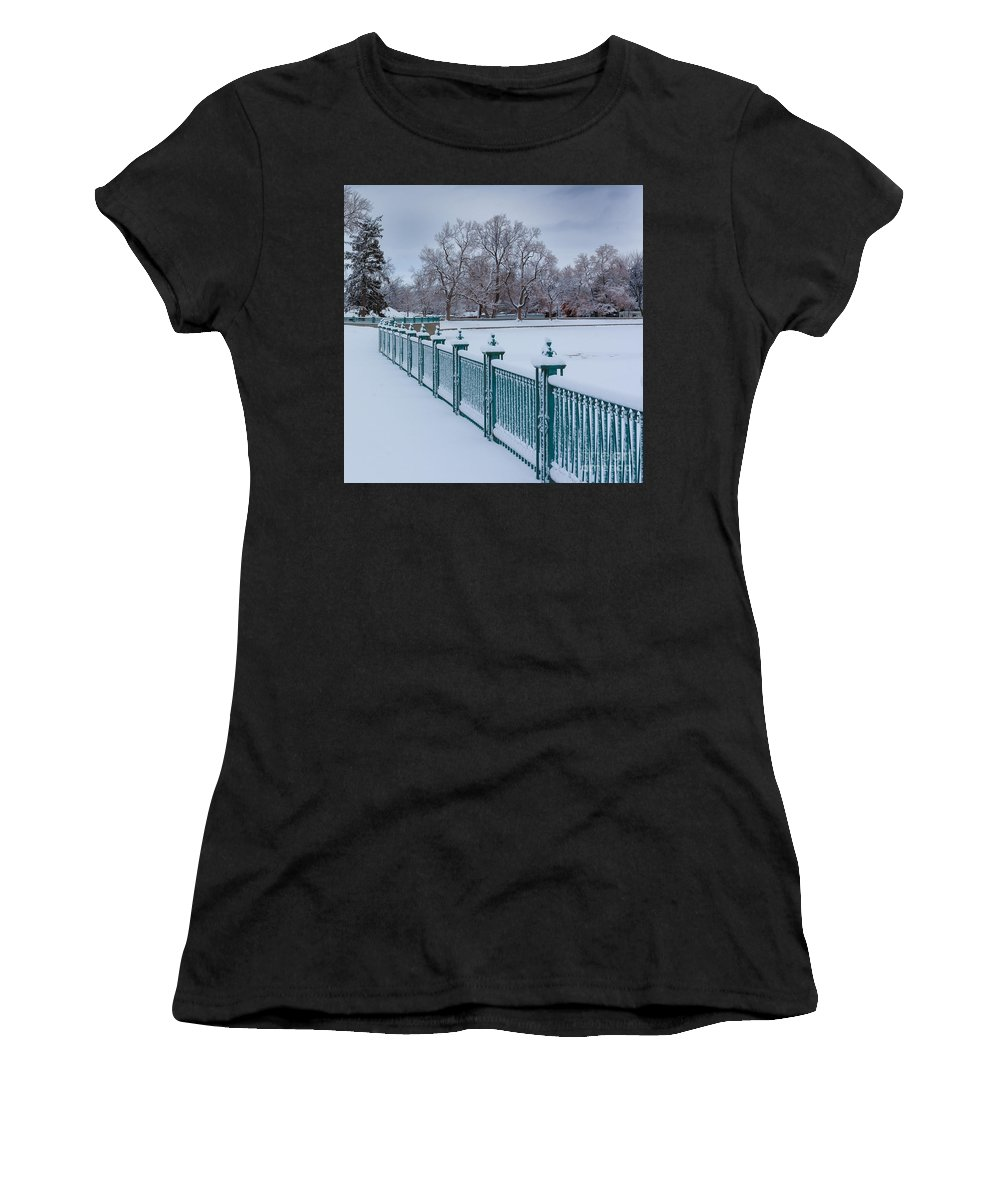 Nature Women's T-Shirt featuring the photograph Winter Iron Fence by Steven Reed