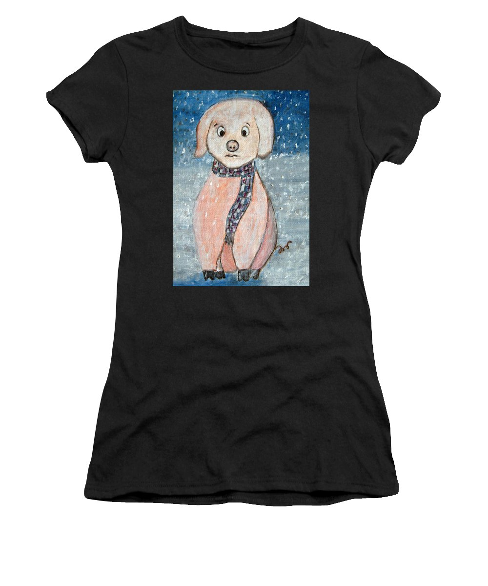 Pig Women's T-Shirt featuring the painting Winter Is Coming by Alina Cristina Frent
