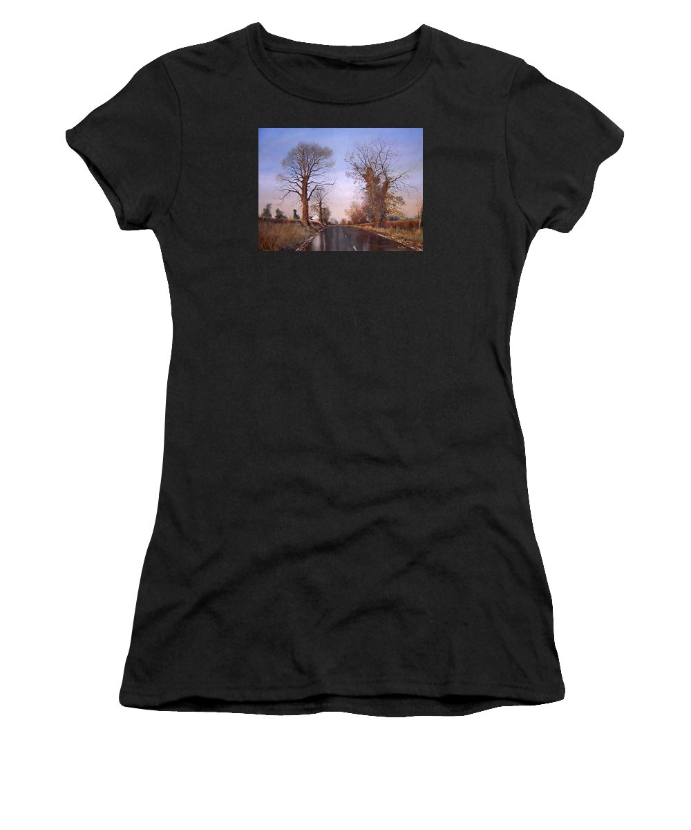 Landscape Women's T-Shirt (Athletic Fit) featuring the painting Winter Morning On Calverton Lane by Barry BLAKE