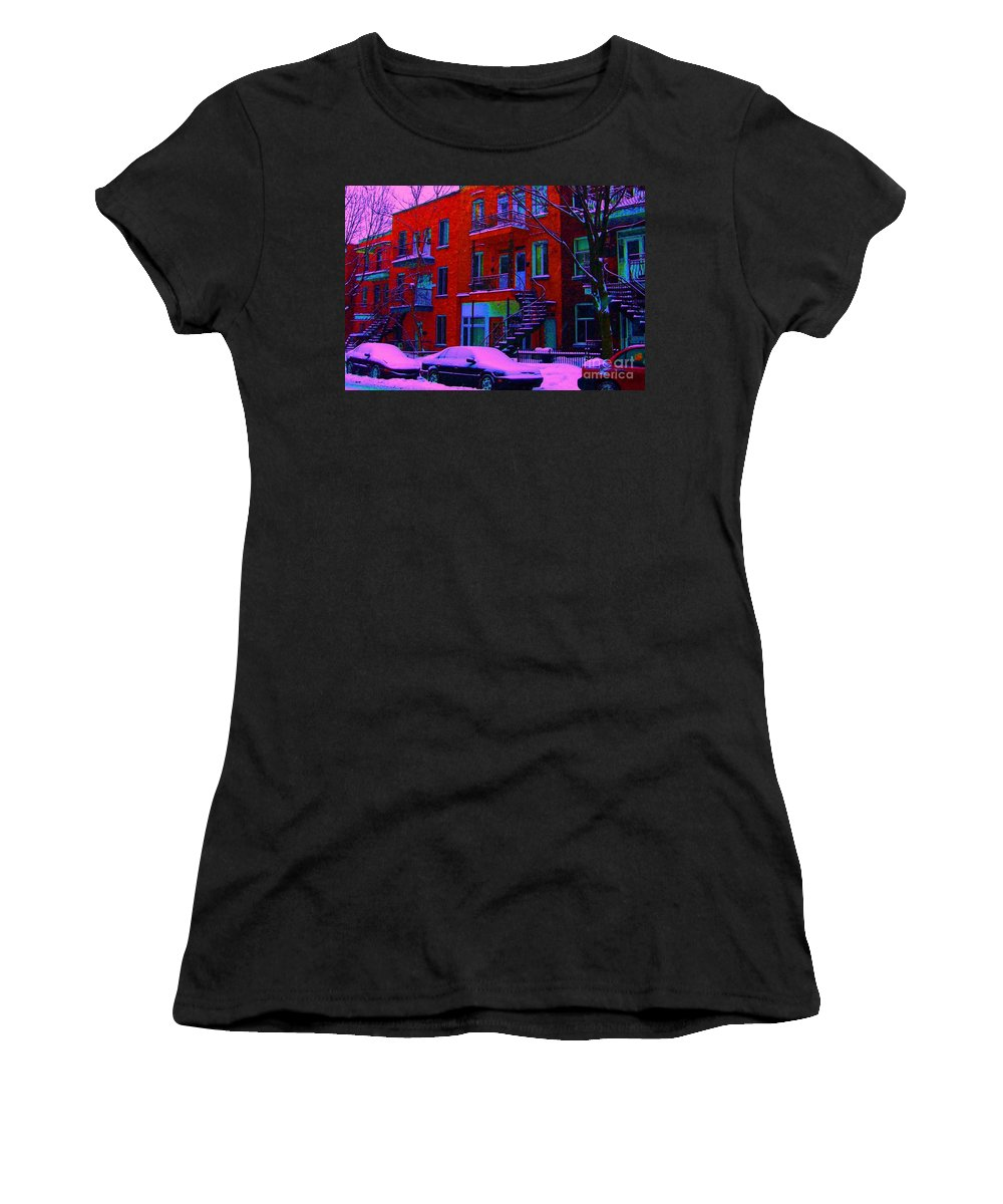 Montreal Women's T-Shirt featuring the photograph Winter Staircases Two by Carole Spandau