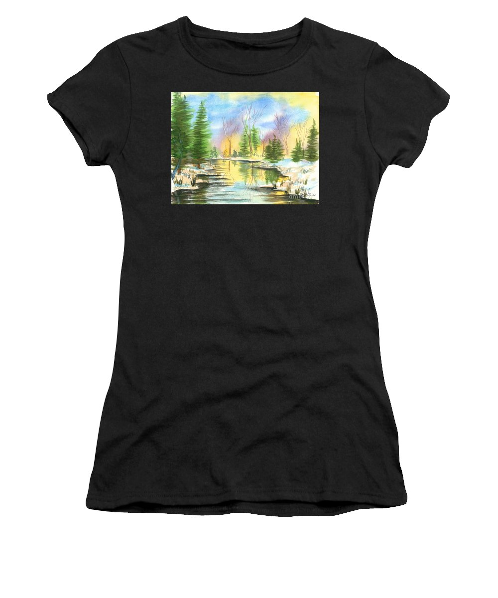 Stream Women's T-Shirt (Athletic Fit) featuring the painting Winter Stillness by Walt Brodis