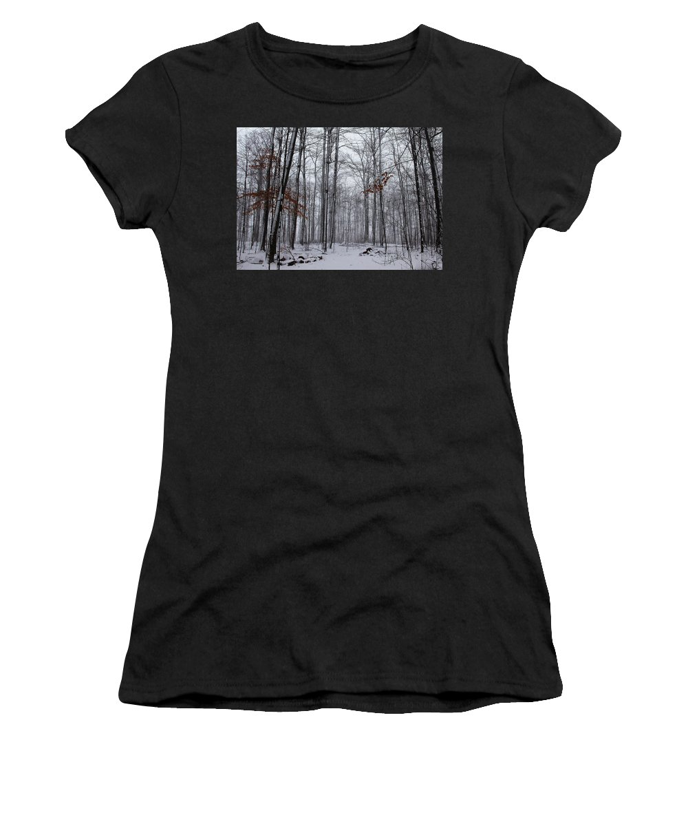 Hilton Conservation Park Women's T-Shirt featuring the photograph Winter Storm In The Forest by Debbie Oppermann