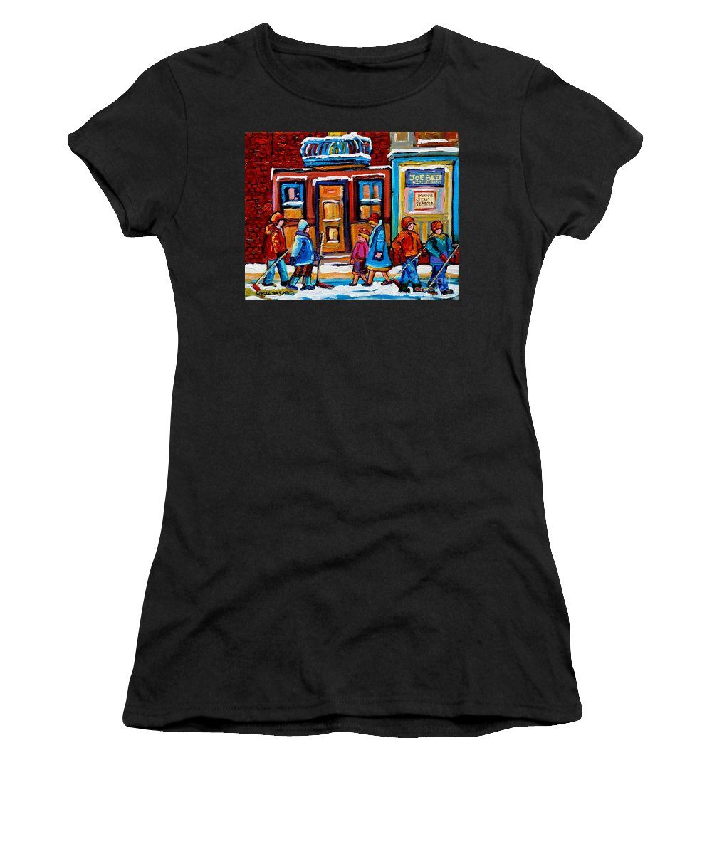 Montreal Women's T-Shirt featuring the painting Winter Street In Saint Henri by Carole Spandau