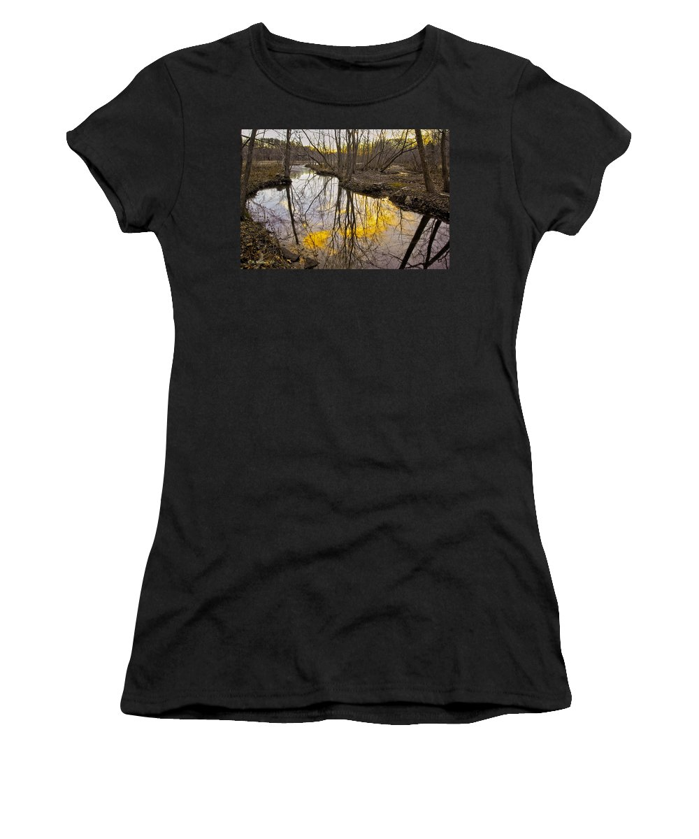 2d Women's T-Shirt (Athletic Fit) featuring the photograph Winter Sunset At Williston Mill by Brian Wallace