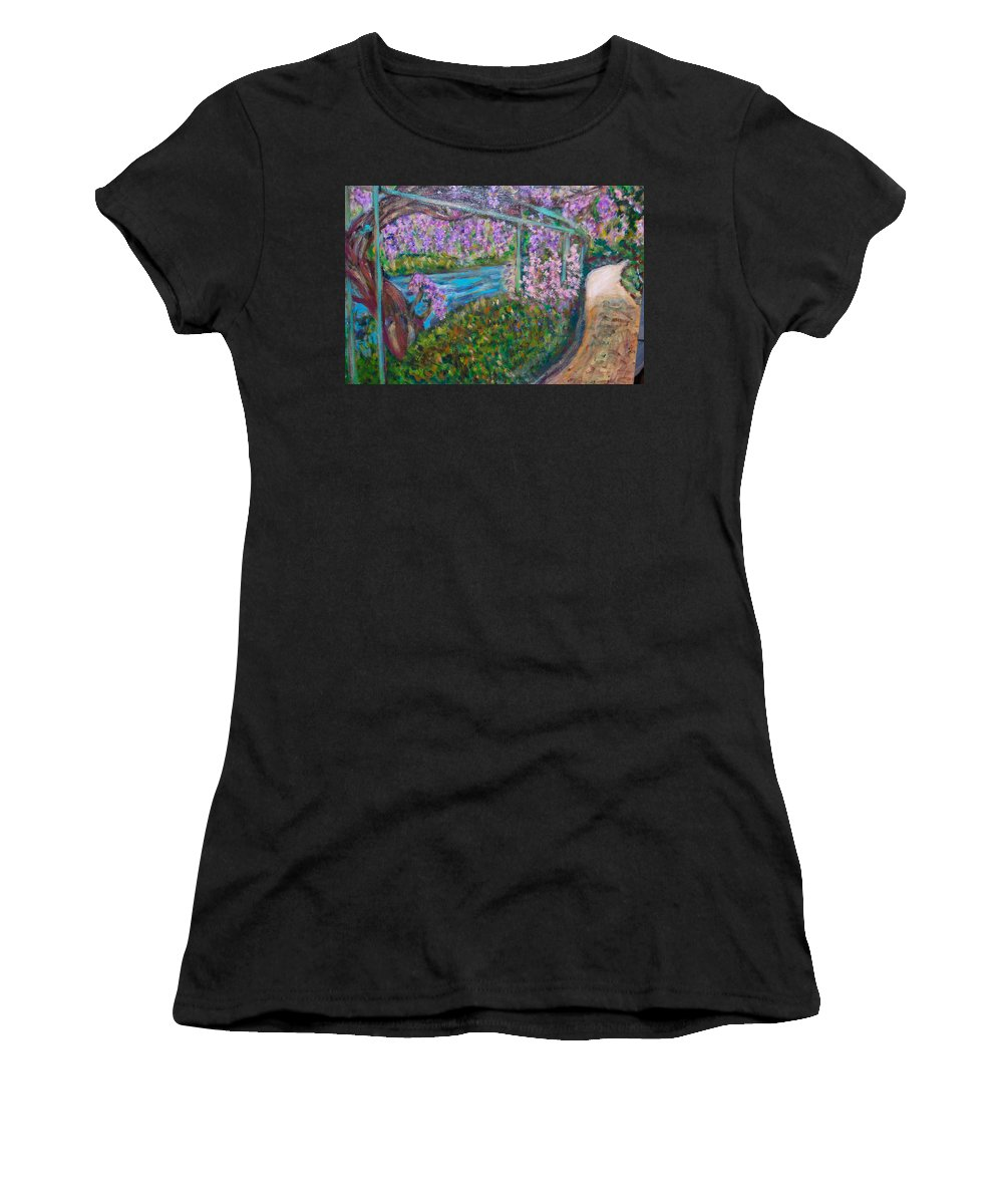 Wisteria Women's T-Shirt featuring the painting Wisteria by Carolyn Donnell