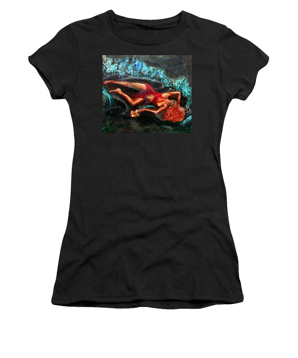 Females Women's T-Shirt (Athletic Fit) featuring the painting Woman In A Red Dress Holding A Flower by Tom Conway