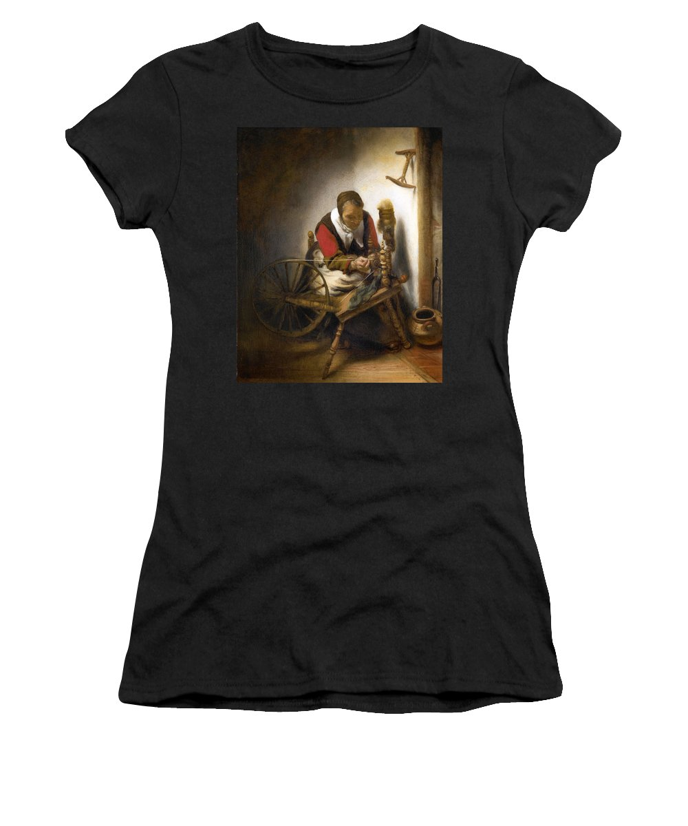 Nicolaes Maes Women's T-Shirt (Athletic Fit) featuring the painting Woman Spinning by Nicolaes Maes