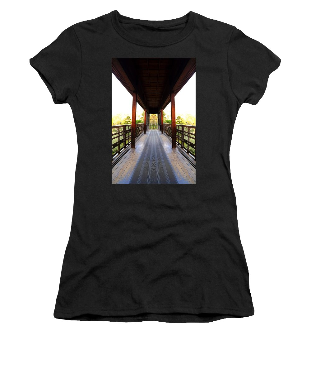 Temple Women's T-Shirt (Athletic Fit) featuring the photograph Wooden Path by Scott Hill