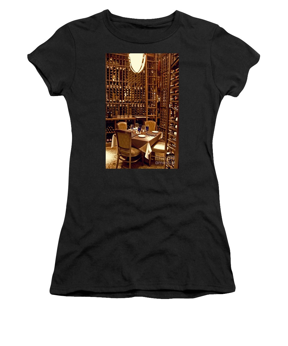 Wright Women's T-Shirt (Athletic Fit) featuring the photograph Would You Join Me For A Glass My Dear by Paulette B Wright