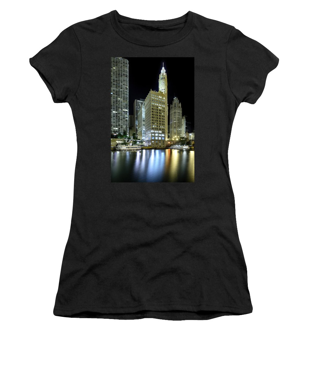 Dusk Women's T-Shirt featuring the photograph Wrigley Building At Night by Sebastian Musial