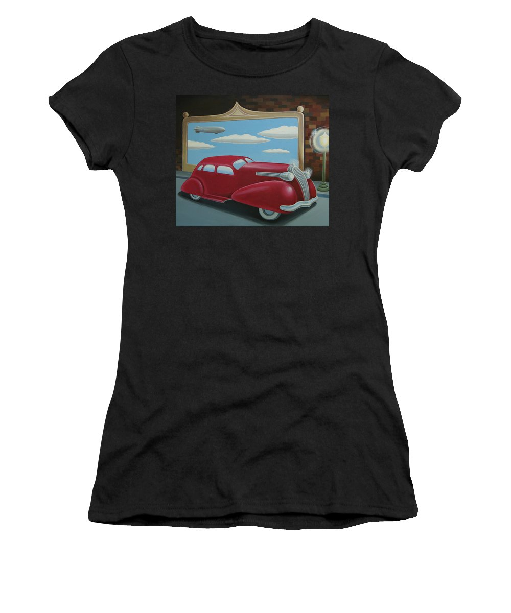 Automotive Women's T-Shirt (Athletic Fit) featuring the painting Wyandotte Lasalle by Stuart Swartz