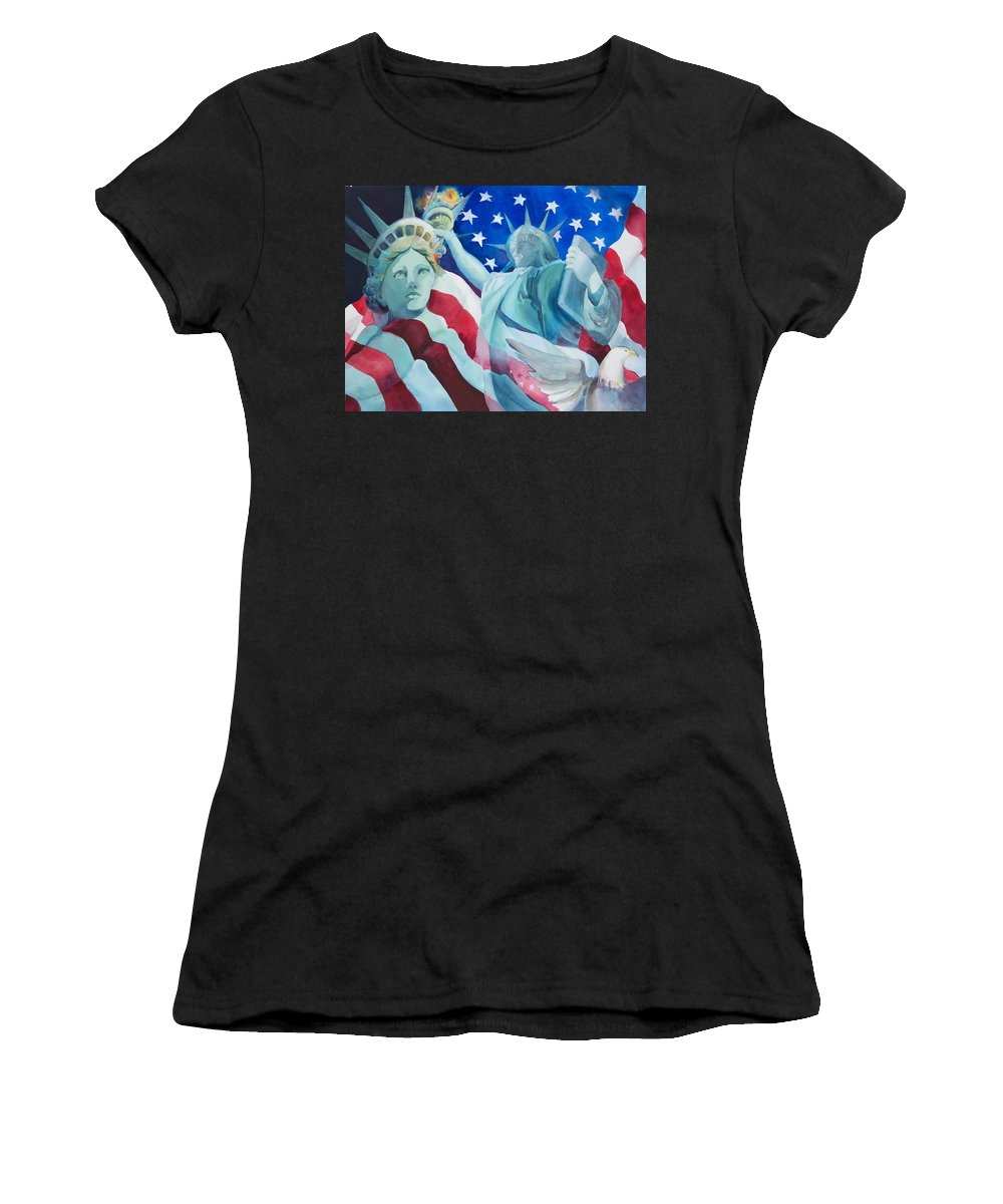Statue Of Liberty Painting Women's T-Shirt (Athletic Fit) featuring the painting Yearning To Be Free by Sue Kemp