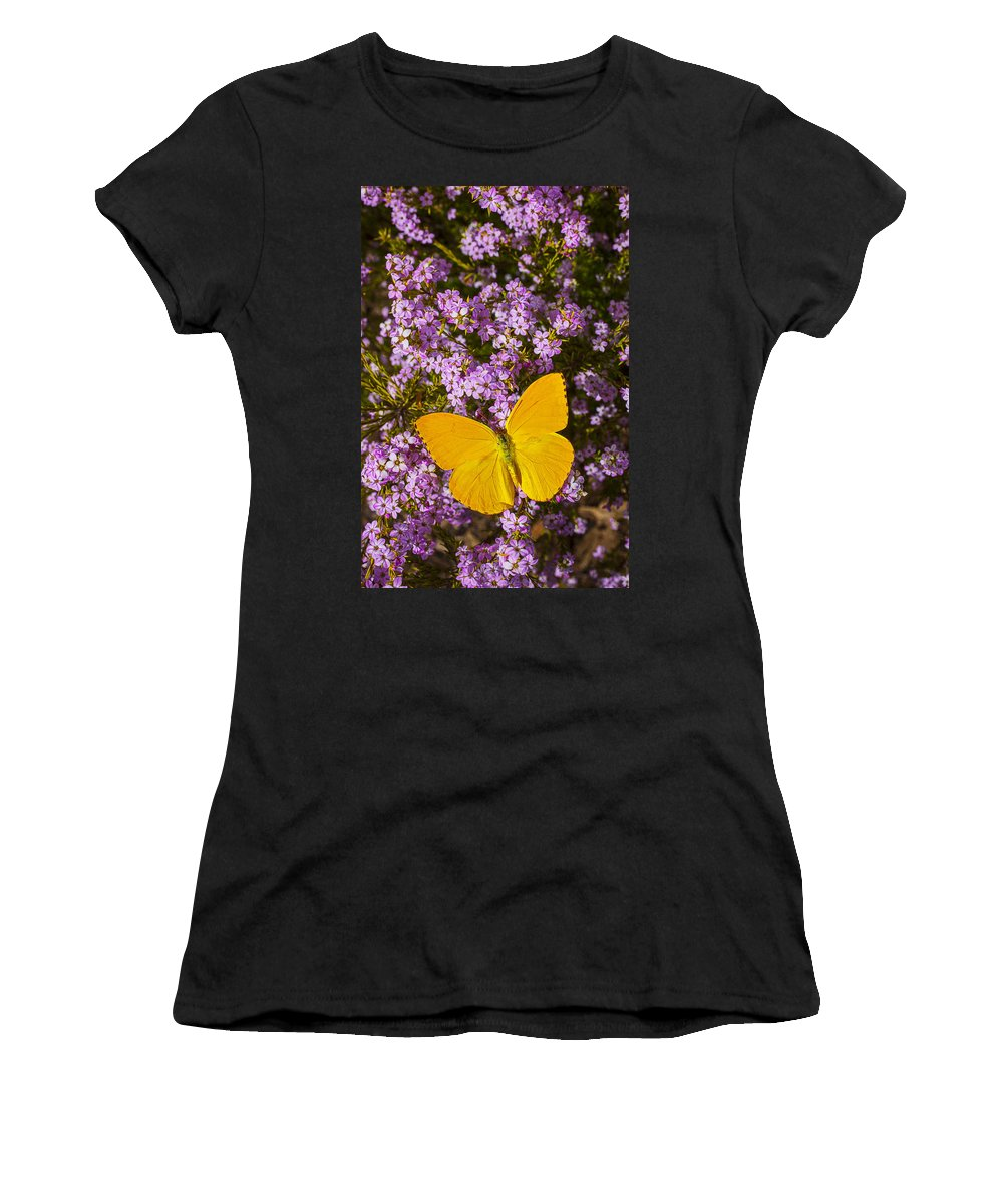 Pink Women's T-Shirt (Athletic Fit) featuring the photograph Yellow Butterfly On Pink Flowers by Garry Gay