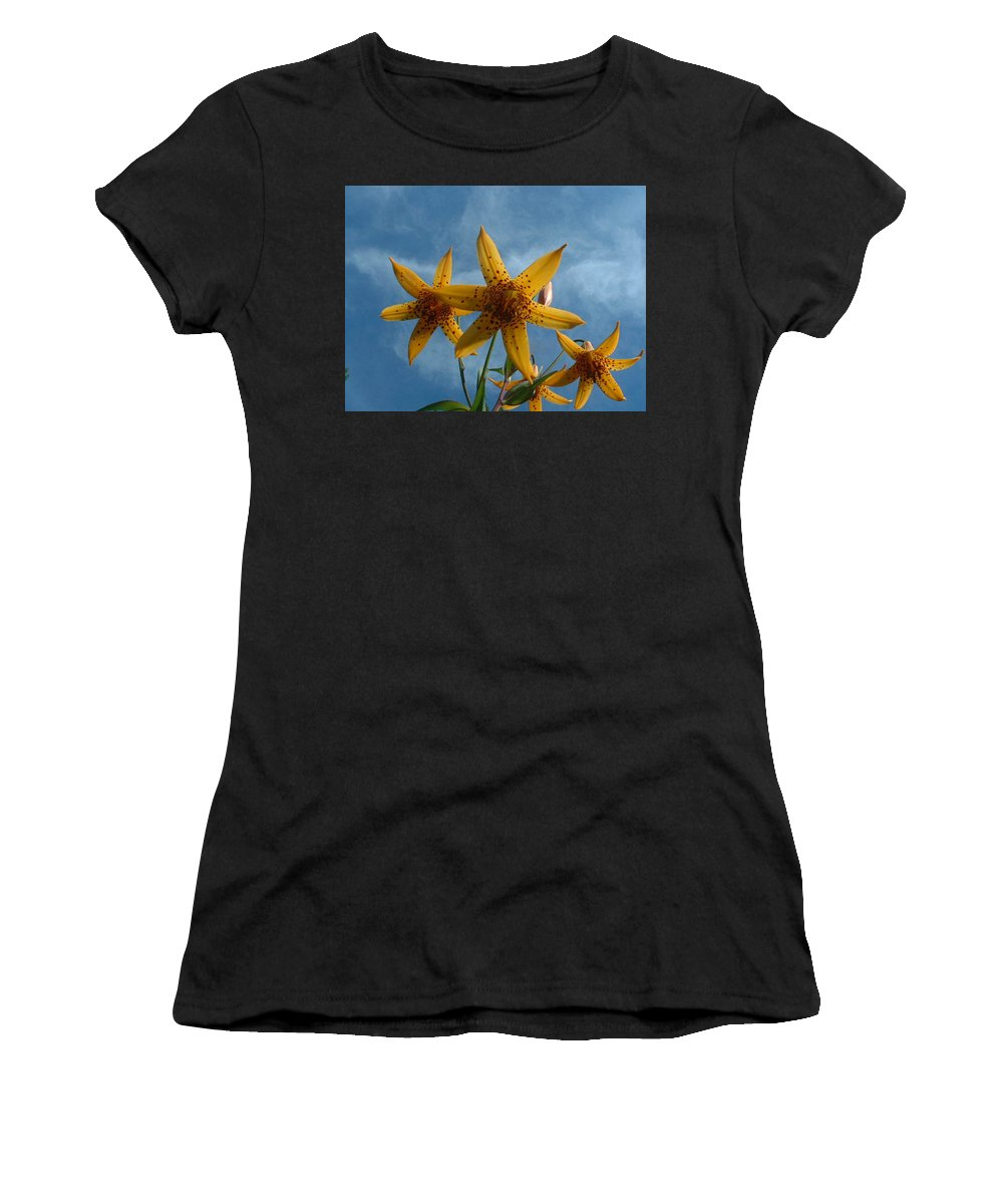Flowers Women's T-Shirt (Athletic Fit) featuring the photograph Yellow Flower On Blue Sky by Geoffrey McLean
