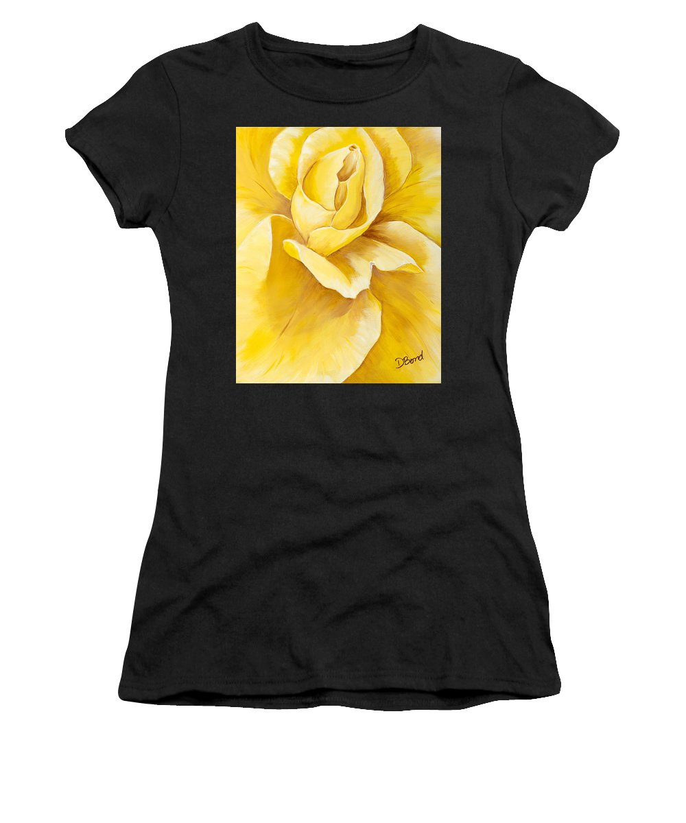 Rose Women's T-Shirt featuring the painting Yellow Rose Close Up by Debi Bond