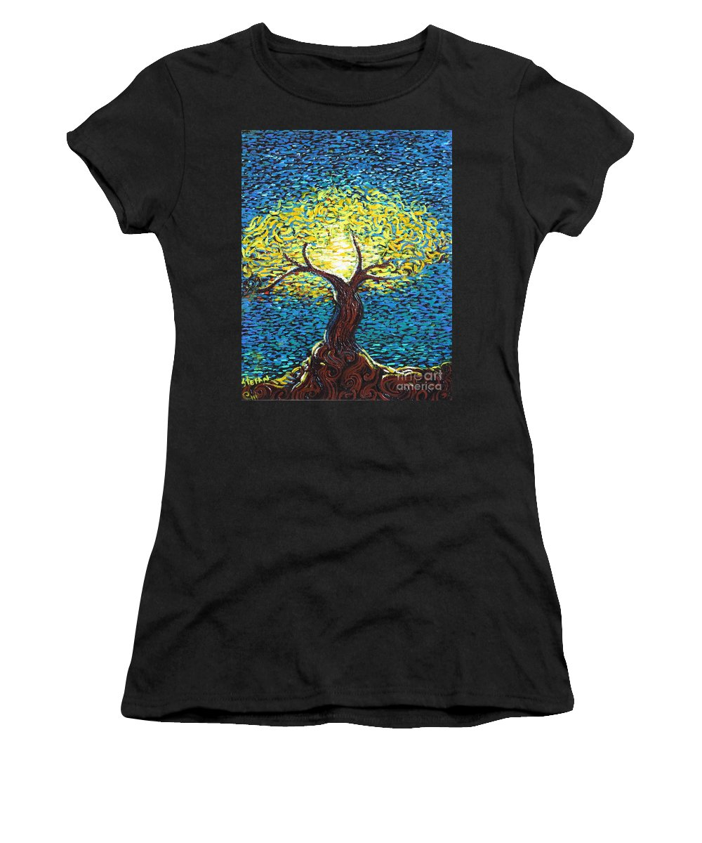 Landscape Women's T-Shirt (Athletic Fit) featuring the painting Yellow Squiggle Tree by Stefan Duncan