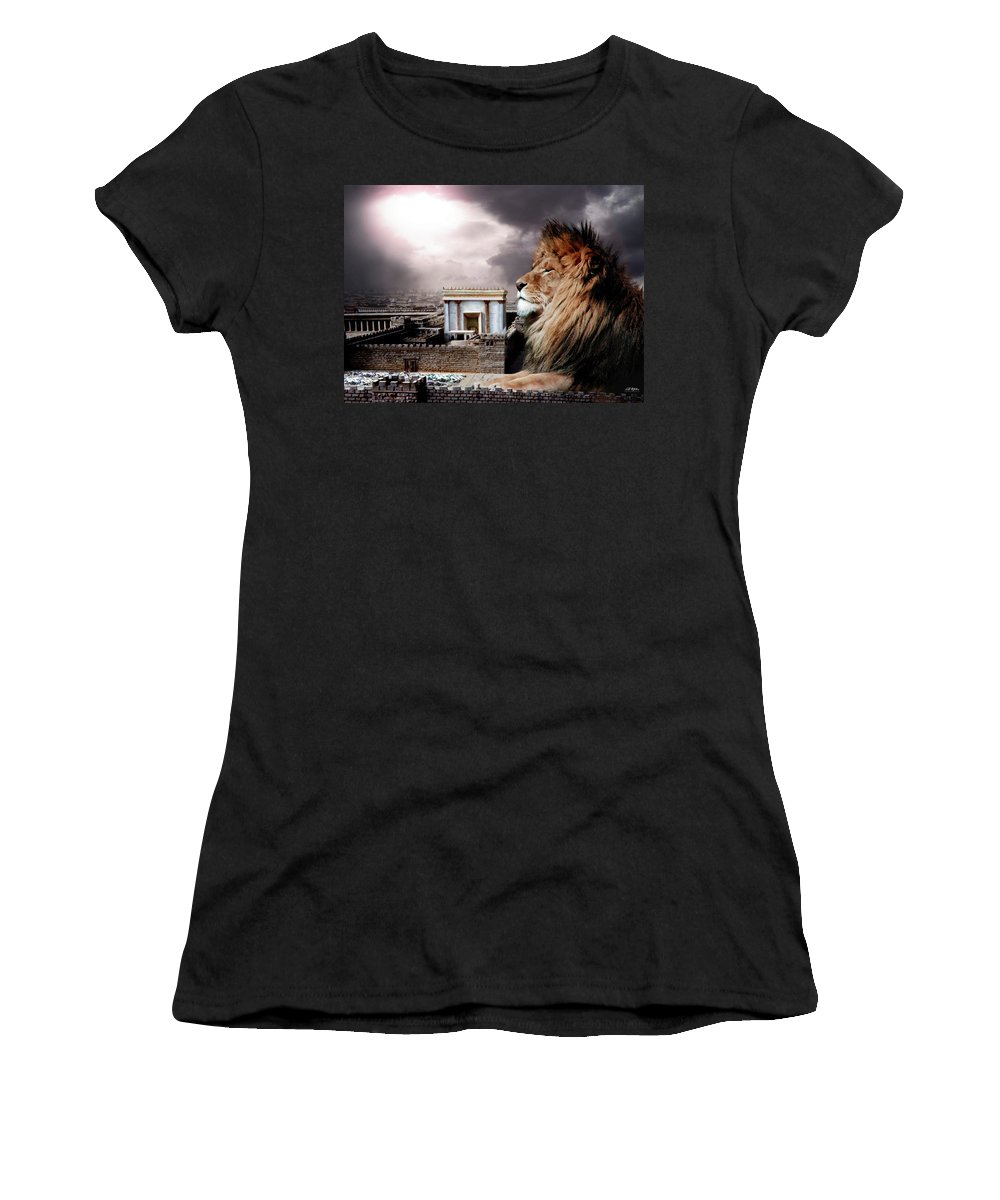 Lions Women's T-Shirt featuring the digital art Yeshua In The Outer Court by Bill Stephens