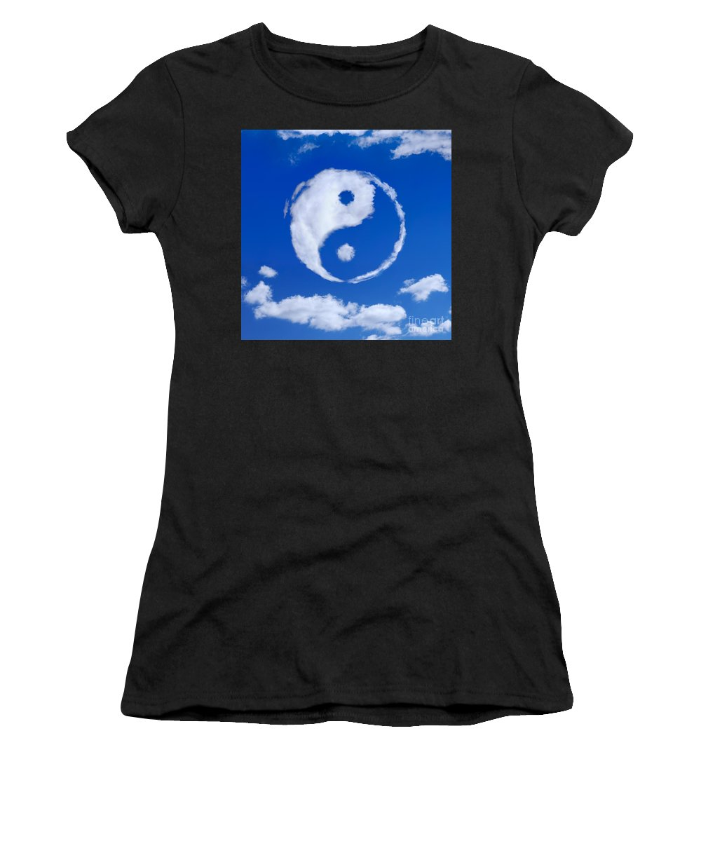 Yin-yang Women's T-Shirt (Athletic Fit) featuring the photograph Yin-yang Symbol Made Of Clouds by Oleksiy Maksymenko