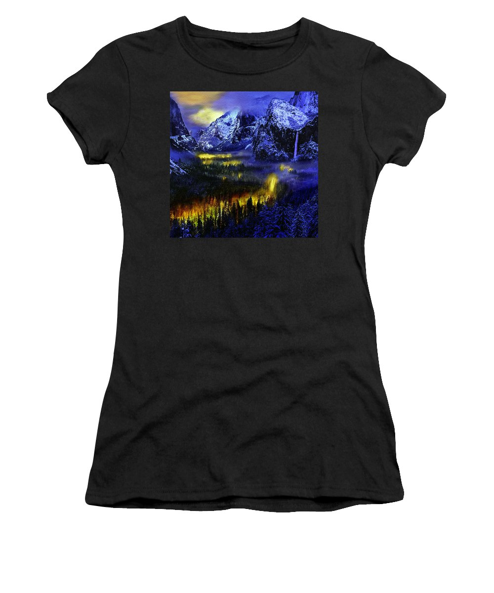 Ahwahnee Women's T-Shirt featuring the photograph Yosemite Valley At Night by Bob and Nadine Johnston