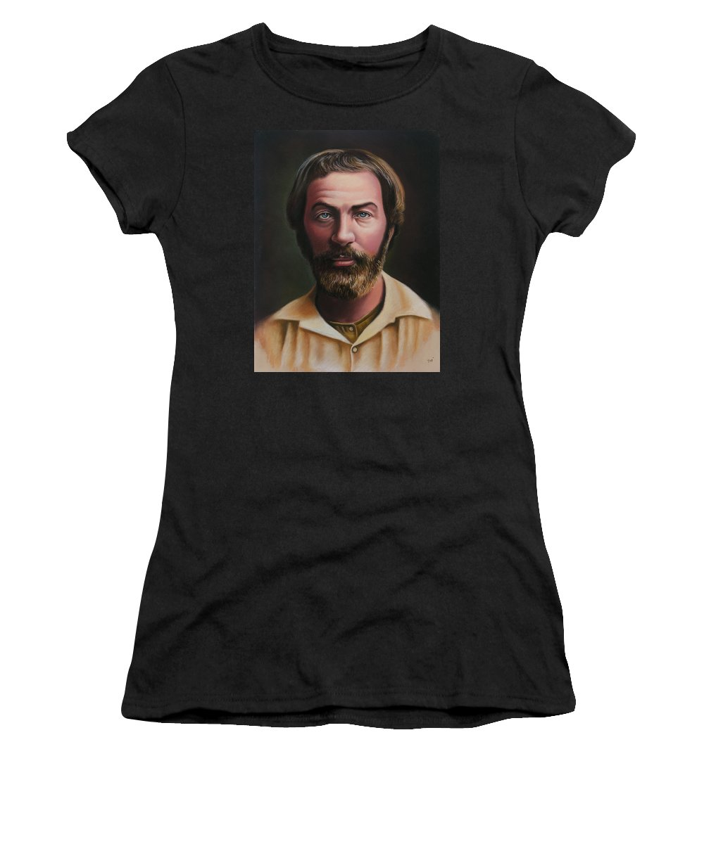 Walt Whitman Women's T-Shirt featuring the pastel Young Walt Whitman by Miguel Tio