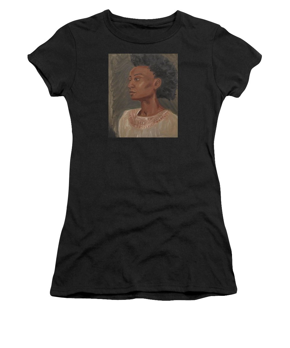 Woman Women's T-Shirt (Athletic Fit) featuring the painting Young Woman With An Afro by Jeffrey Oleniacz