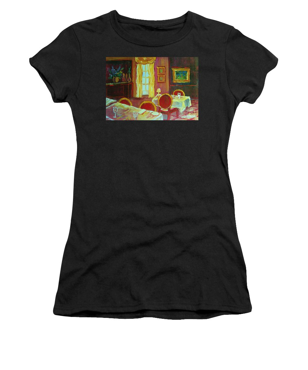 Interior Women's T-Shirt (Athletic Fit) featuring the painting Your Table Awaits by Carole Spandau