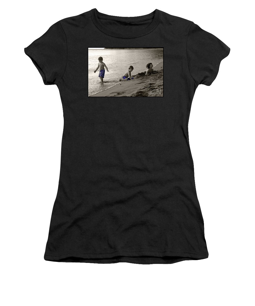 Boys Women's T-Shirt featuring the photograph Youth At The Beach by Madeline Ellis