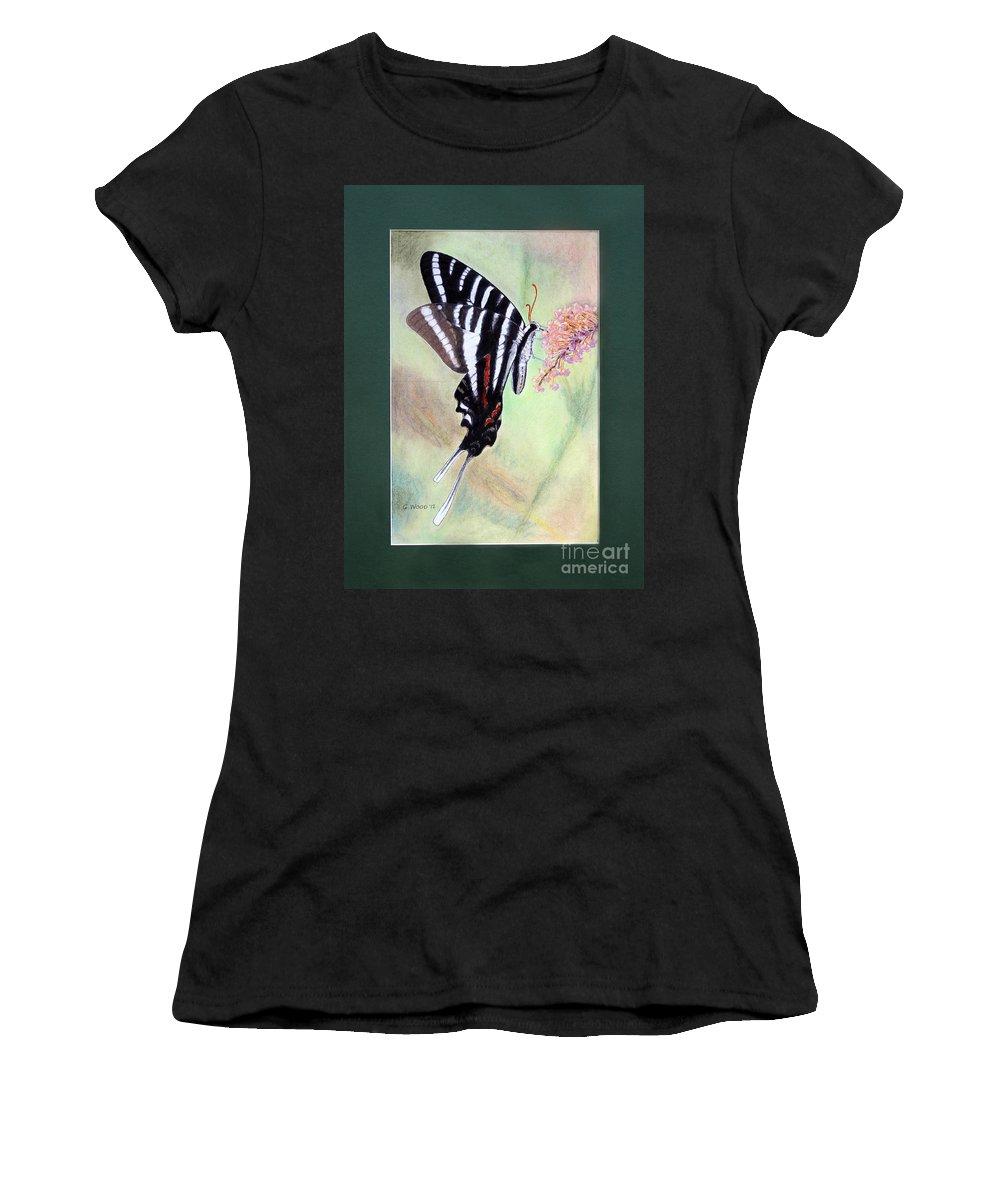 Zebra Swallowtail Butterfly Women's T-Shirt featuring the photograph Zebra Swallowtail Butterfly By George Wood by Karen Adams
