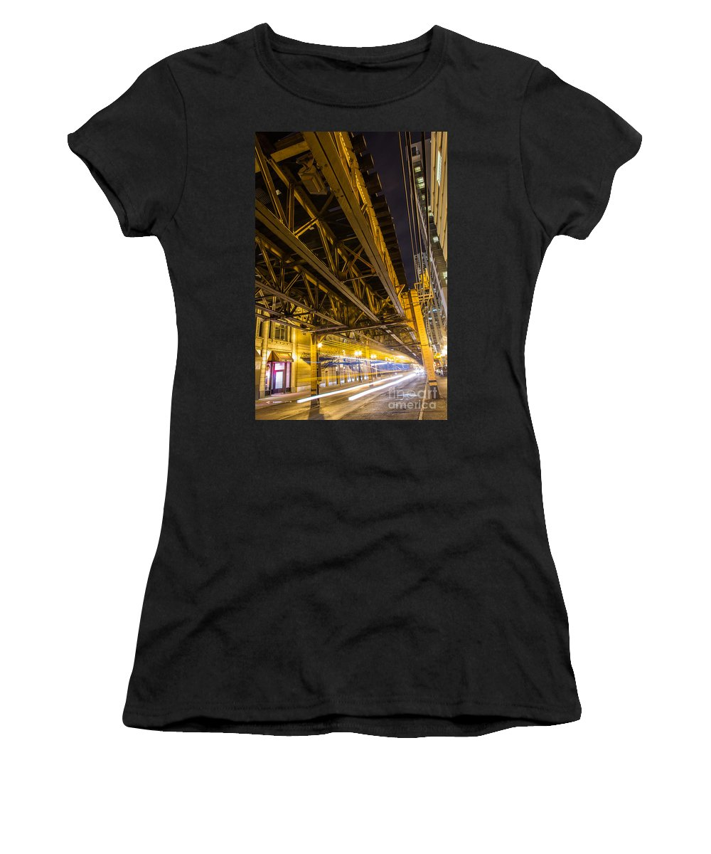 Chicago Il Women's T-Shirt featuring the photograph Zooming Under L by Andrew Slater