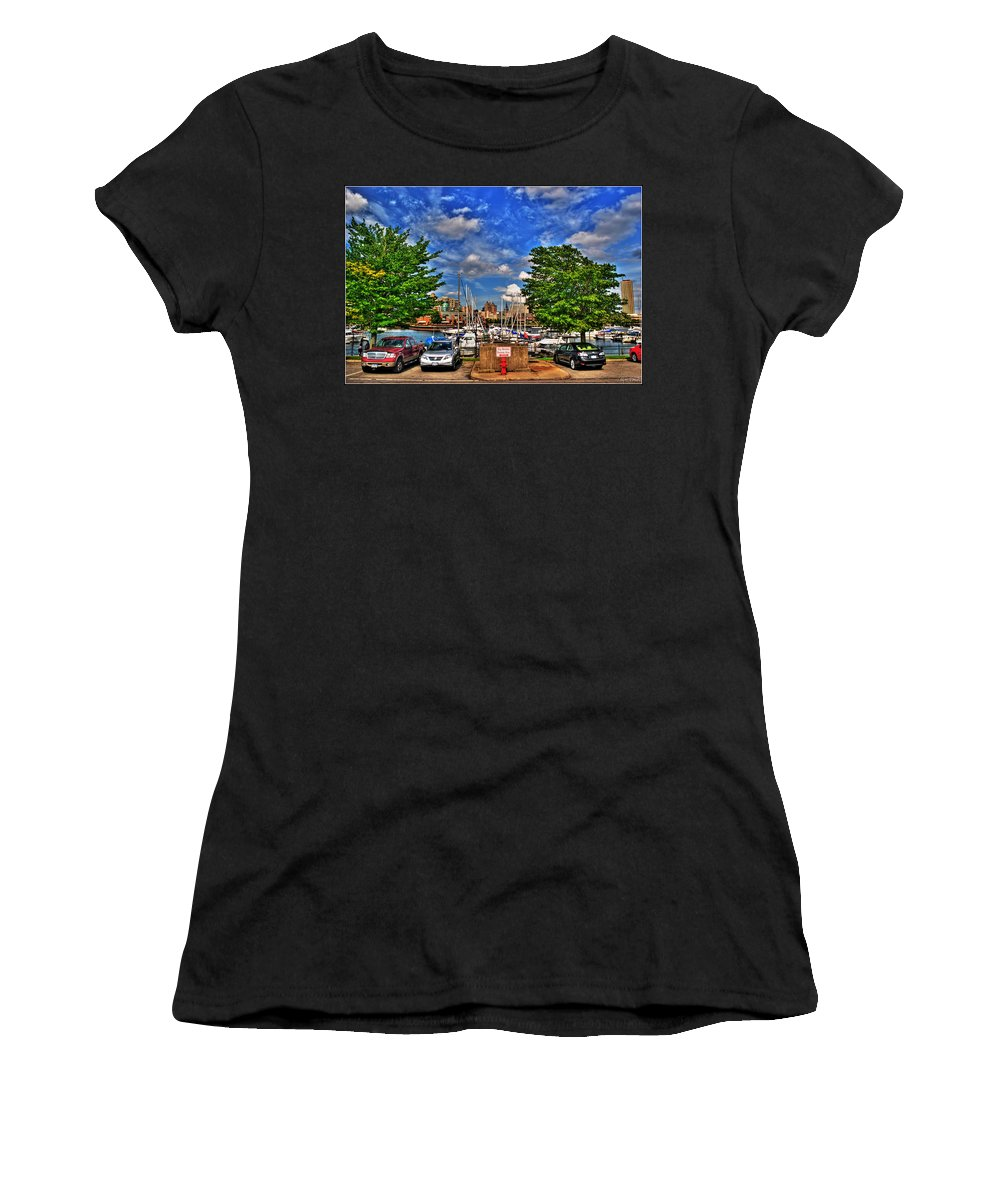 Women's T-Shirt (Athletic Fit) featuring the photograph 003 On A Summers Day Erie Basin Marina Summer Series by Michael Frank Jr