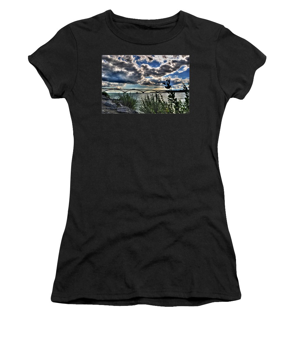 Women's T-Shirt (Athletic Fit) featuring the photograph 003 Peace Bridge Series II Beautiful Skies by Michael Frank Jr