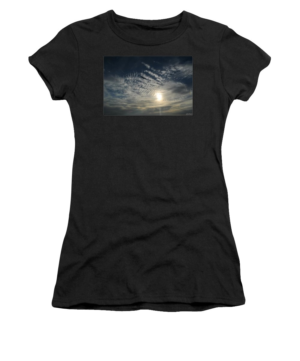 Women's T-Shirt (Athletic Fit) featuring the photograph 005 When Feeling Down Pick Your Head Up To The Skies Series by Michael Frank Jr