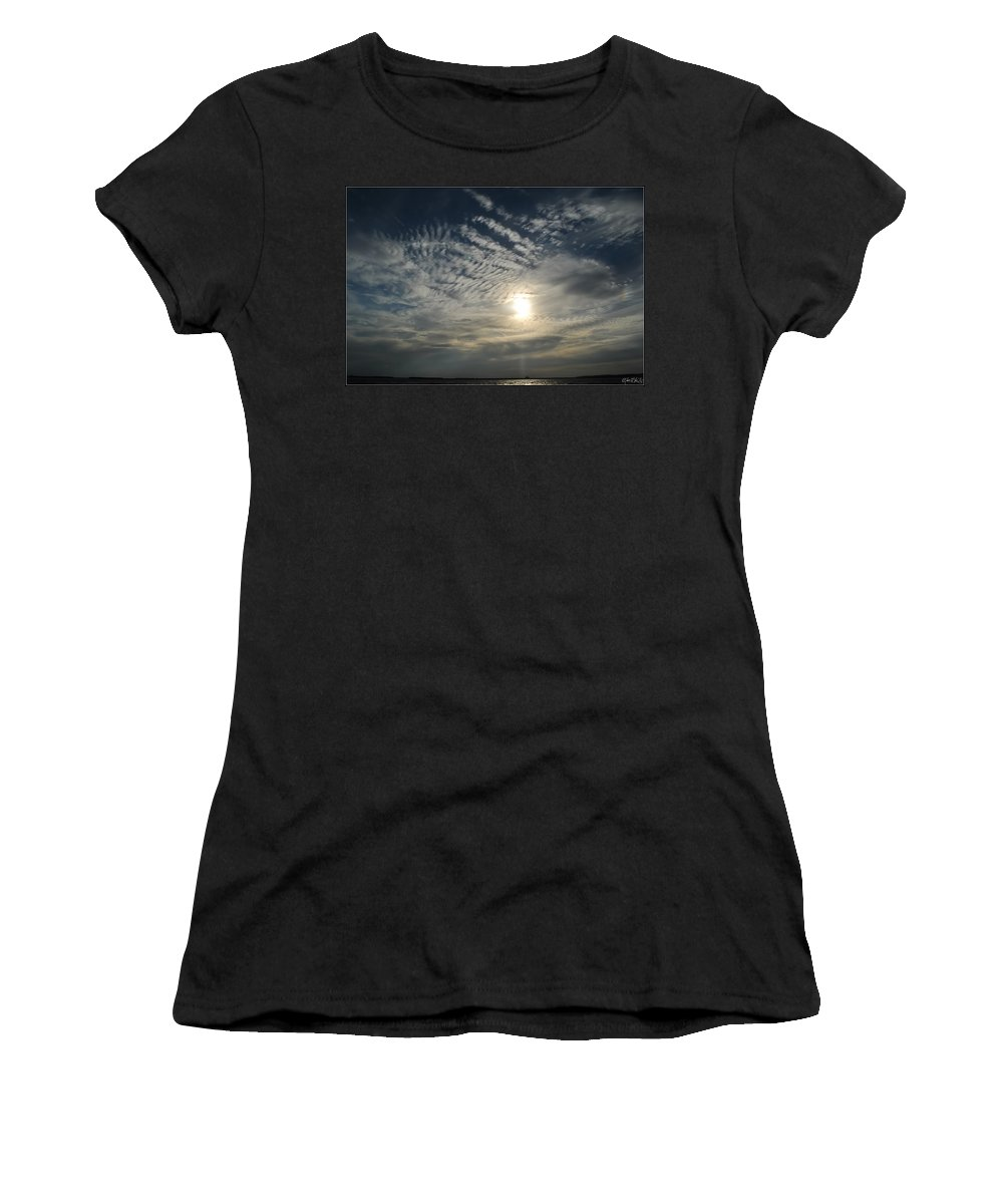 Women's T-Shirt (Athletic Fit) featuring the photograph 006 When Feeling Down Pick Your Head Up To The Skies Series by Michael Frank Jr
