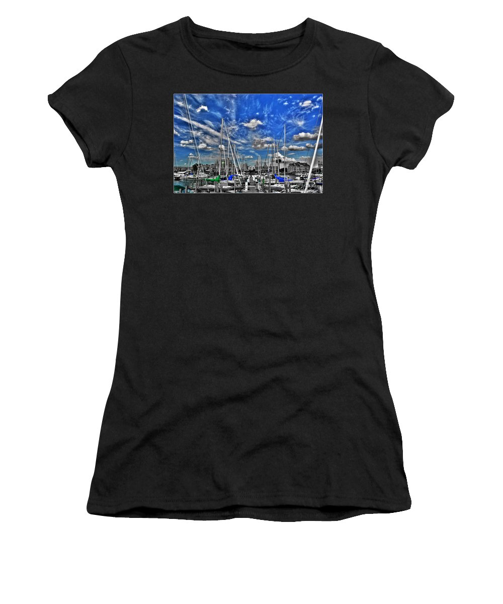 Women's T-Shirt (Athletic Fit) featuring the photograph 007sc On A Summers Day Erie Basin Marina Summer Series by Michael Frank Jr