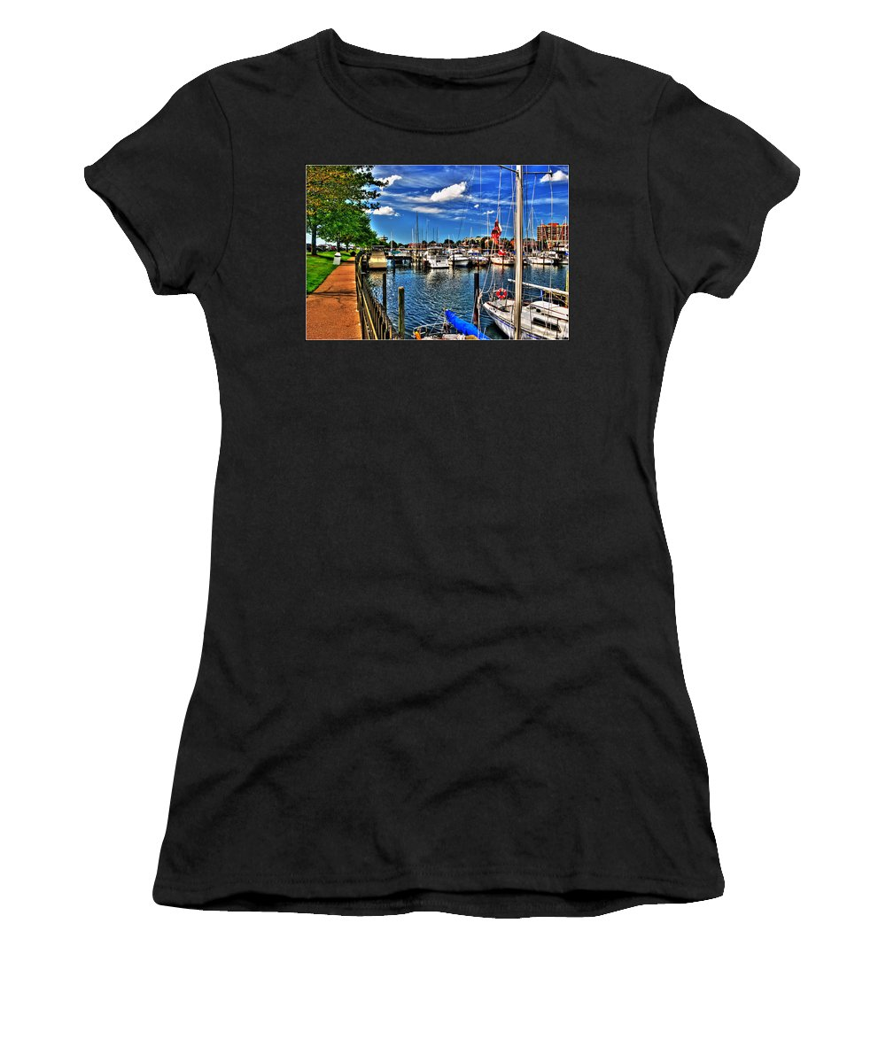Women's T-Shirt (Athletic Fit) featuring the photograph 009 On A Summers Day Erie Basin Marina Summer Series by Michael Frank Jr