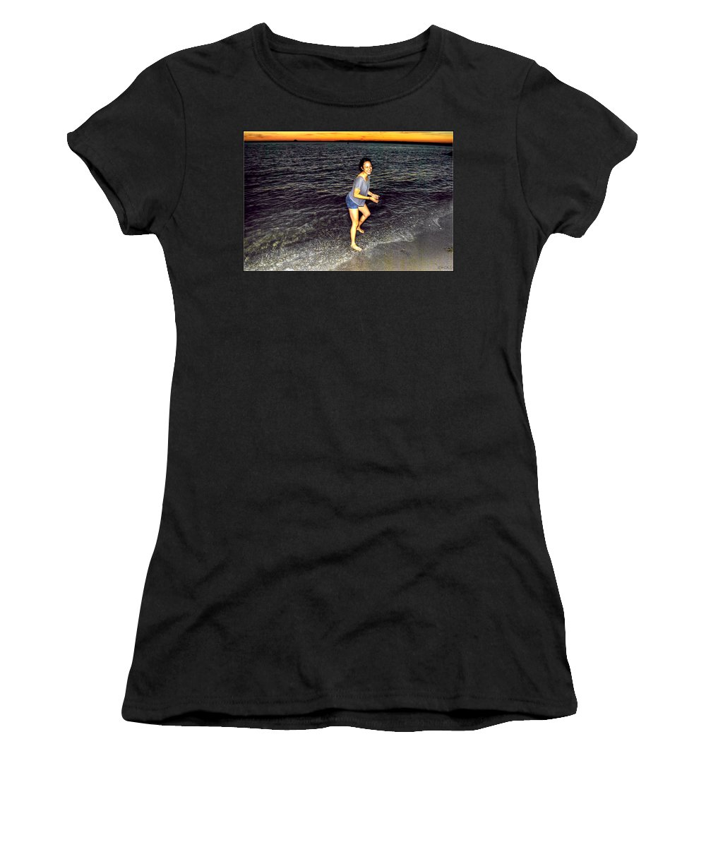 Women's T-Shirt (Athletic Fit) featuring the photograph 017 A Sunset With Eyes That Smile Soothing Sounds Of Waves For Miles Portrait Series by Michael Frank Jr