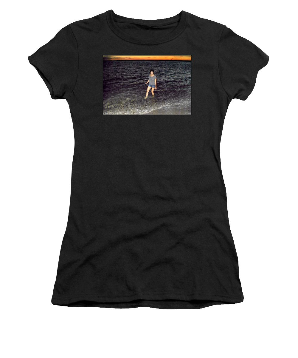 Women's T-Shirt (Athletic Fit) featuring the photograph 018 A Sunset With Eyes That Smile Soothing Sounds Of Waves For Miles Portrait Series by Michael Frank Jr
